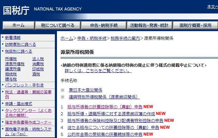 源泉所得税届け出書類一覧